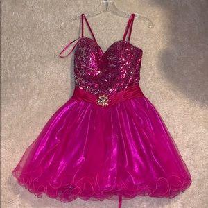 Corset back sequin pink dress